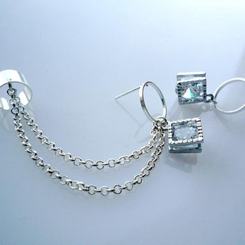 Circle Ear Cuff Earrings With Synthesized Cubic Zirconia Charms