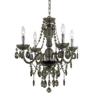 AF Lighting Naples 4-Light Chrome Mini Chandelier with Smoke-Colored Plastic Bead Accents-8351-4H - The Home Depot
