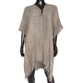 Brown Sequin detail frayed edge shawl cover up kimono cardigan - High Quality