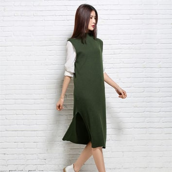 Spring And Autumn Turtleneck Sleeveless Women Sweater Vest Green Gray Female Mid-Long Casual Elegant Wool Knitted Waistcoat