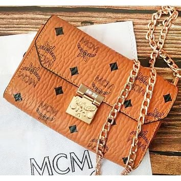 MCM Fashion New More Letter Leather Shoulder Bag Crossbody Bag Brown