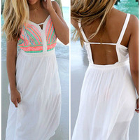 Crazy For Cozumel Off White Embroidered Maxi Dress