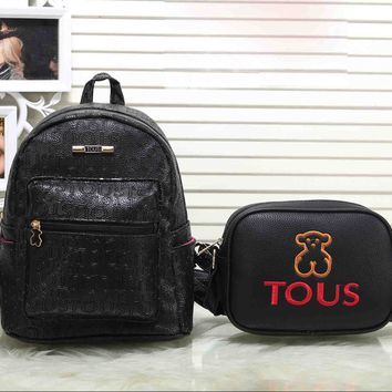 TOUS New Fashion Casual Sport Laptop Bag Shoulder School More letter two piece Bag Backpack Bear Small Shoulder Bags Black+black