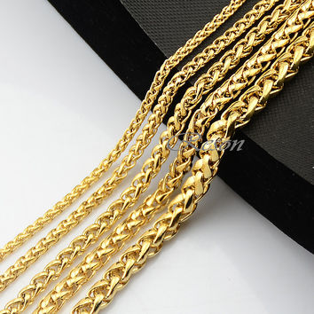 1pcs 3mm 4mm 5mm 6mm 7mm Long Big Wheat Chains Yellow Gold Plated Filled Link Necklace For Man's Women's Jewelry