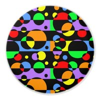 Rainbow Geometric Circle Abstract Modern Deco Art Ceramic Knob