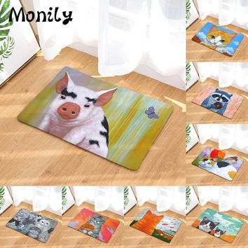 Autumn Fall welcome door mat doormat Monily Anti-Slip Waterproof  Lovely Cat Eat Food Fish Pig Carpets Bedroom Rugs Decorative Stair Mats Home Decor Crafts AT_76_7