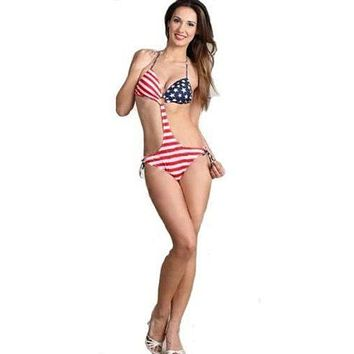 Sexy and Patriotic USA Flag Stars and Stripes One Piece Monokini Swimwear Swimsuit by Mapale