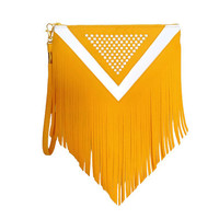 Yellow White Faux Leather Women Woven Fringe Clutch Bag, Boho Bohemian Clutch Bag, Casual Chic Clutch, Hippie Clutch, Vegan Leather Bag,