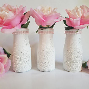 Milk Bottle Vase Set - Bud Vases - Baby Girl Shower - Girl First Birthday - Pearl Party - Pearl Party Decorations - Pink Pearls - Baby Girl