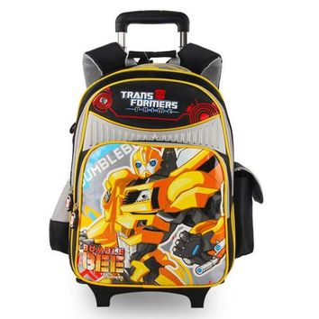School Backpack Transformers cartoon trolley/wheels children/kids school bag books rolling backpack with detachable for boys grade/class 1-4 AT_48_3