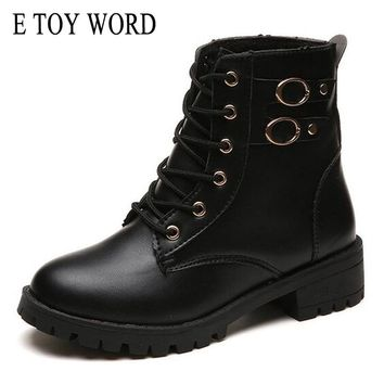 E TOY WORD Motorcycle Boots Women Vintage Rivet Combat Army Punk Black Ankle Boots for women Biker Leather Autumn women boots