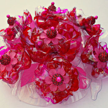 Pink Cake Topper Decoration Ruby Red Centerpiece Flower Beaded Crystal Brooch OOAK Jeweled, flowers, Recycled Plastic Bottle
