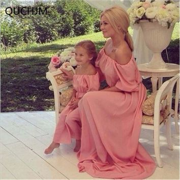 Summer Style Family Chiffon Dress Boat Neck Mother Daughter Long Dress Mom and Daughter Dresses Clothes Family Clothing Outfits