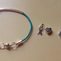 Teal Leather Awareness Tube Bracelet-Friendship-Silver Curved Tube bead-Ovarian Cancer-Anxiety-Sexual Assult
