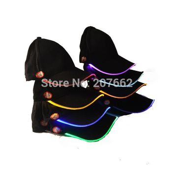 Free Shipping 2pcs Super Bright Unisex Caps Fashion LED Lighted Glow Club Party Black Fabric Travel Hat Baseball Cap