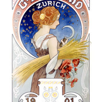 Daverio Wheat Harvest Advertisement by Alphonse Mucha Fine Art Print