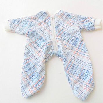 "BOY DOLL CLOTHES, bitty baby 15"" doll clothes, blue and white cotton knit pajamas sleeper"