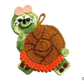 Crochet snail potholder, colorful potholders, presina lumaca all'uncinetto