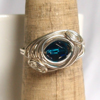 Genuine Swarovski Capri Blue Double Scroll Ring, Sterling Silver Ring, Wire Wrapped Handmade Ring, Blue Gold Ring, Capri Blue Jewelry