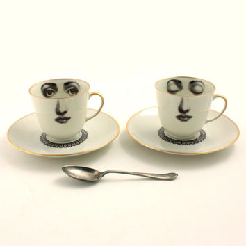 Set of 2 Altered Porcelain Coffee Espresso Cups Lace Collar Saucers Face Vintage Sugar-White Brown Romantic whimsical