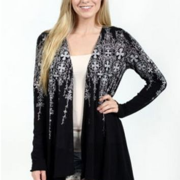 Vocal Crystals Cross Black Tunic Western Cardigan Sweater Shirt