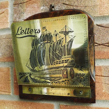 Vintage Brass & Copper Letter Rack, Wall Hanging Bill Organizer, Man Gift, Marine Interest Sailing Ship, Newspaper Mail, Rustic Man Cave