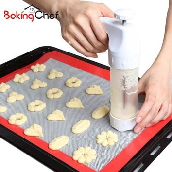 Set Of 18 Cookie Presses Pastry Stamp Moulds Stencils Bakeware Cooking Tools Kitchen Baking Fondant Gadgets Accessories Supplies