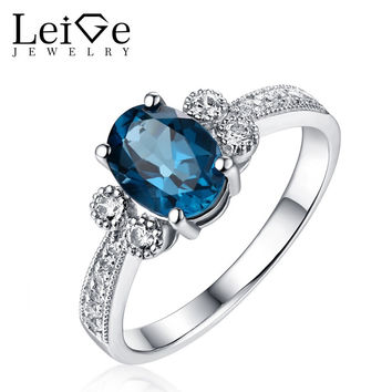LEIGE JEWELRY SILVER 925 RINGS FOR WOMEN LONDON BLUE TOPAZ RING WITH STONES ANNIVERSARY GIFT GEM JEWELRY OVAL CUT PRONG SETTING