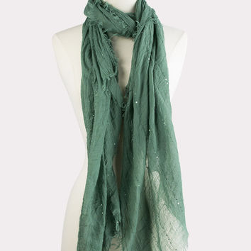 Sequin Stripe Scarf in Green