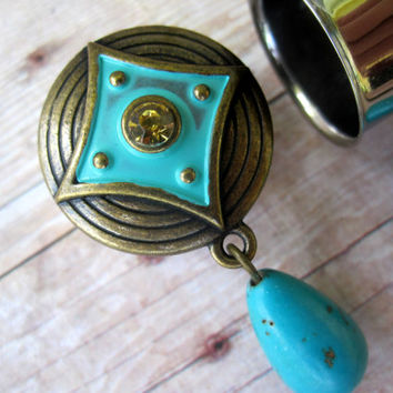 "Pair of Antique Brass Plugs w/ Turquoise Beads and Accents - Girly Gauges - Handmade Boho Bohemian - 9/16"", 5/8"", 3/4"" (14mm, 16mm, 19mm)"