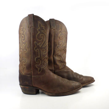 Men's Cowboy Boots Vintage 1980s Justin Oiled Brown size 10 D