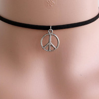 SIGN OF PEACE Choker Necklace with Charm Sign Of Peace Charm Choker  Choker Black Choker Choker Charms 90s Grunge Sign Of Peace