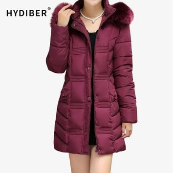 Plus Size Winter Coat Women Vintage Embossing Jacket Long Parkas Hooded Fur Collar Cotton Padded Women Jackets Wadded Coats