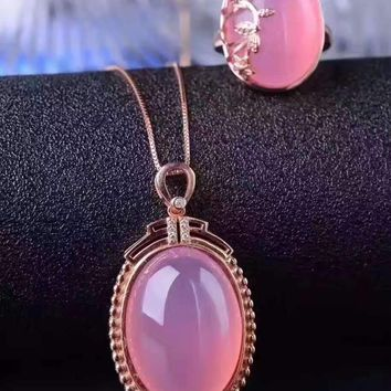 Natural pink chalcedony gem jewelry sets natural gemstone ring Pendant 925 silver classic big luxurious Round women fine jewelry