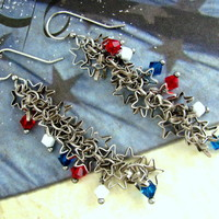 Star Chain Earrings - Swarovski Crystals Bicone Beads Star Charm Chain