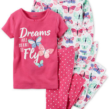 Carter's 4-Pc. Butterfly Dreams Cotton Pajama Set, Toddler Girls (2T-5T) | macys.com