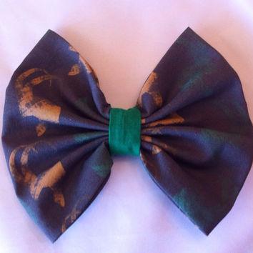 Avengers Inspired Loki Helmet Large Fabric Hair Bow, Marvel Comics, Thor, Superhero