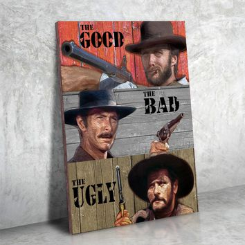 The Good The Bad The Ugly Framed Canvas Wall Art Western Clint Eastwood Art