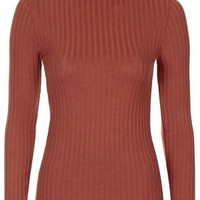 Ribbed Funnel Neck Top - Red