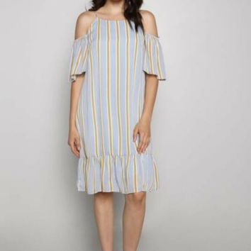 Cold Shoulder Striped Shift Dress