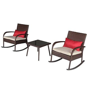 "Cloud Mountain Outdoor 3 Piece Rocking Chair Set Wicker Rattan Bistro Set Wicker Furniture 12"" Height - Two Chairs with Glass Coffee Table, Creamy White Cushion with Cocoa Brown Rattan"