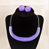 Alexis Bittar Purple Lucite Choker and Clip On Earrings, Jewelry Set, Early Set