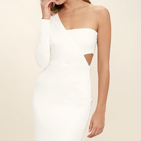One Night White One Shoulder Bodycon Dress