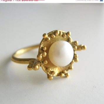 ON SALE 15% OFF Pearl Ring - Cocktail Ring - Gold Ring - Flower Jewelry - Pearl Jewelry - Cute Gift For Her - June birthstone