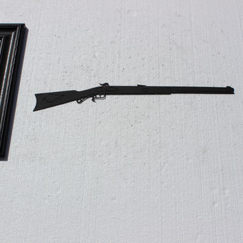 Black Powder Rifle Metal Wall Art Hunting Military Decor