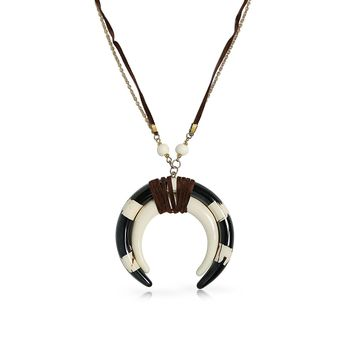Black Buffalo Horn Crescent Moon Necklace Pendant Suede Gold Tone