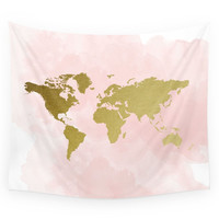 Society6 Gold World Map Poster Wall Tapestry