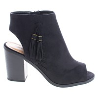 Ecoya Black By Soda, Ankle Booties Peep Toe Sling Back Stack Heel Booties w Tassel & Zipper