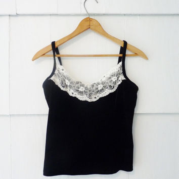 90s Black Velvet and Lace Tank Sexy Tank