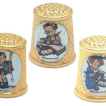 Hummel School Children Thimble Set, Hummel ARS Manufactured Scarcity, Thimble Collectors Club Issued School Children Gold Plated Thimble